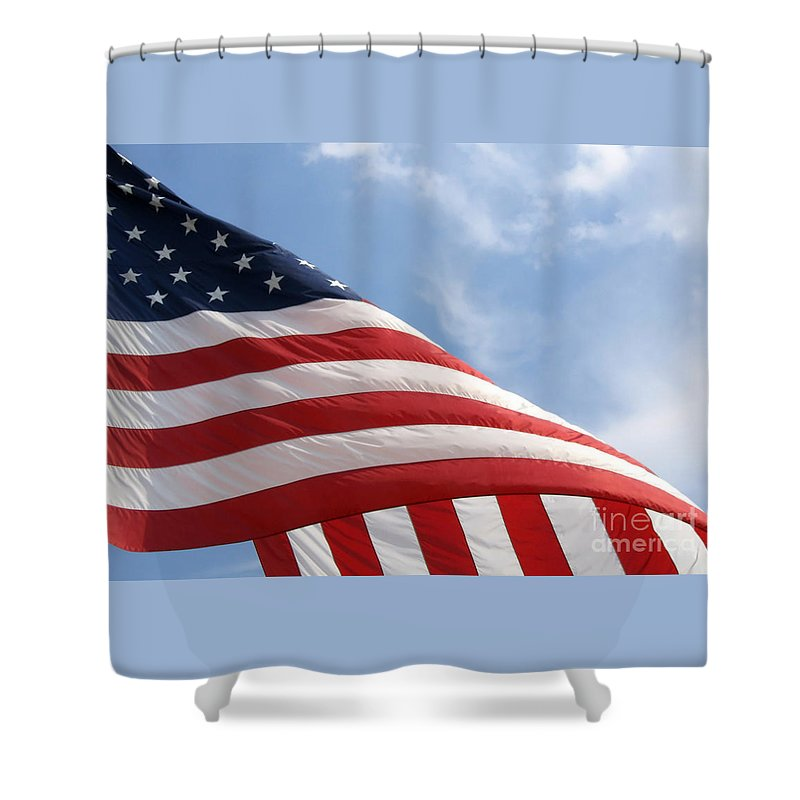 Flag Shower Curtain featuring the photograph United States Flag by Ann Horn