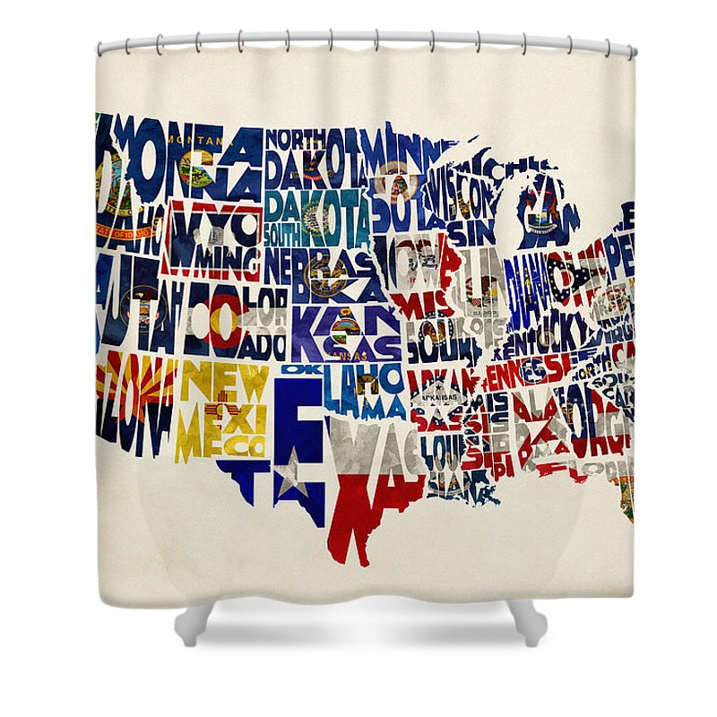 United States Flags Map Shower Curtain For Sale By Inspirowl Design