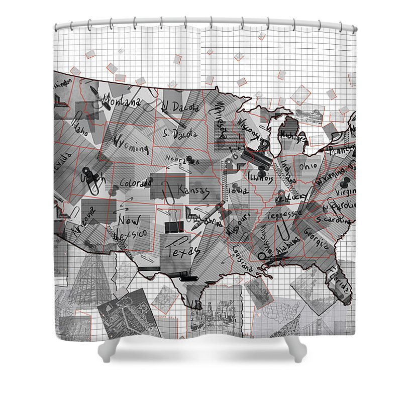 map shower curtain featuring the digital art united states map collage 3 by bekim art
