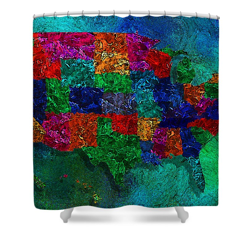 United States Map Shower Curtain For Sale By Jack Zulli