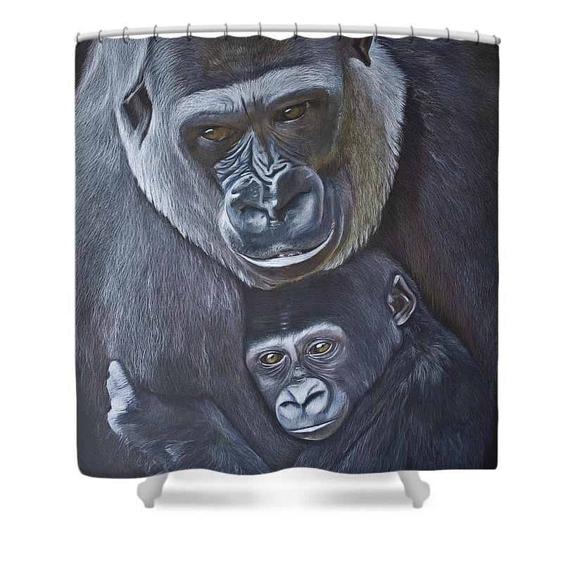 Gorillas Shower Curtain featuring the painting United - Western Lowland Gorillas by Jill Parry
