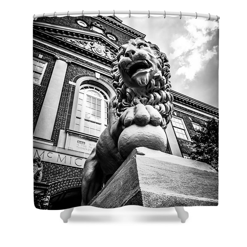 America Shower Curtain featuring the photograph University Of Cincinnati Lion Black And White Picture by Paul Velgos