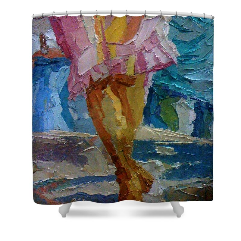 Conceptual Shower Curtain featuring the painting Unrest Consiquence by Kayode Karunwi