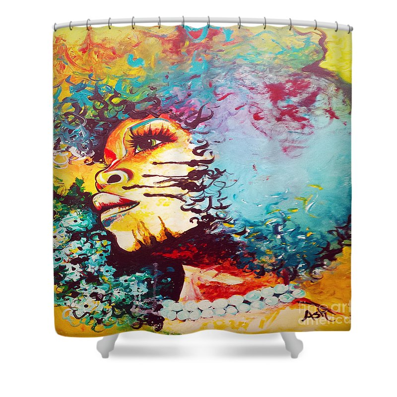 Erykah Badu Shower Curtain Featuring The Digital Art Unstrained Afro Blue By Respect Queen