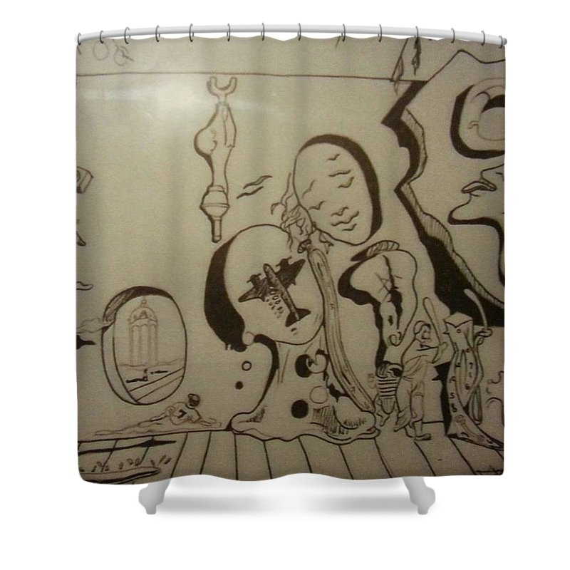 Shower Curtain featuring the drawing Untitled by Jude Darrien