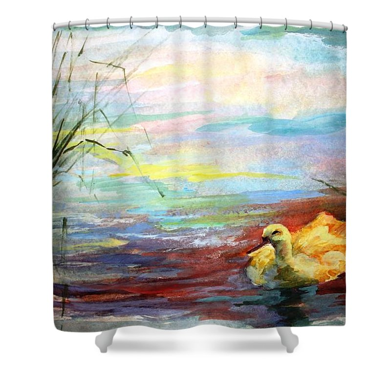 Yellow Duck Shower Curtain featuring the painting Untitled Watercolor    by Mary Spyridon Thompson