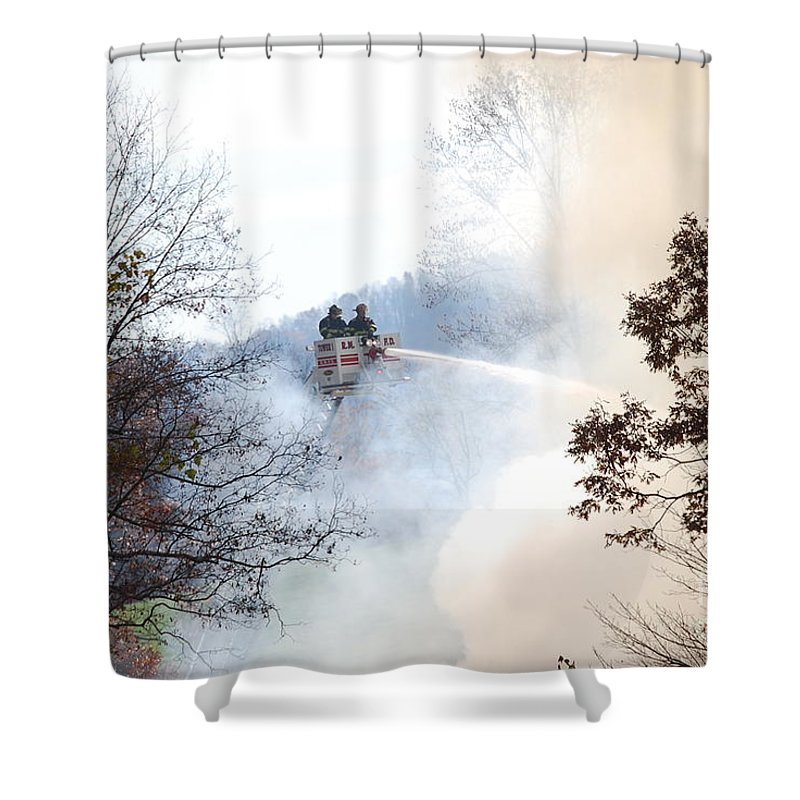 Fire Shower Curtain featuring the photograph Up In Smoke by Eric Liller