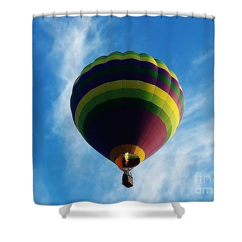 Hot Air Balloon Shower Curtain featuring the photograph Up Up And Away by D Hackett