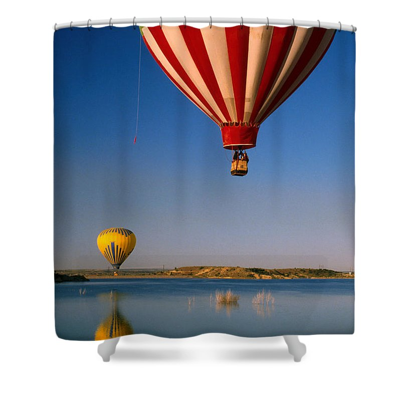 Hot Air Balloon Shower Curtain featuring the photograph Up Up And Away by Jerry McElroy