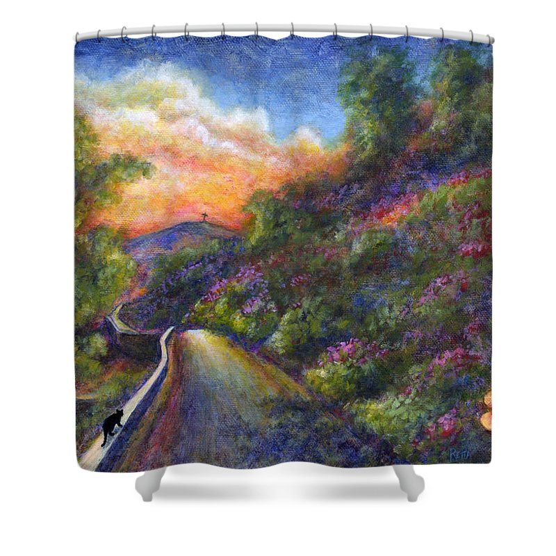 Sunset Shower Curtain featuring the painting Uphill by Retta Stephenson