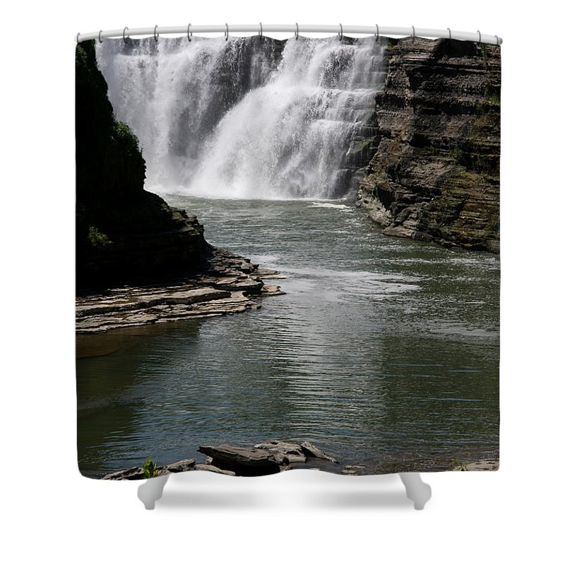 Genesee River Shower Curtain featuring the photograph Upper Falls Letchworth State Park by Christiane Schulze Art And Photography