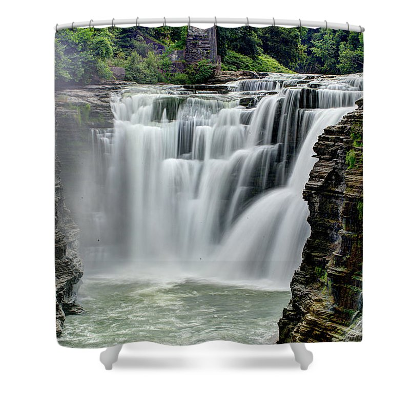 Letchworth State Park Shower Curtain featuring the photograph Upper Letchworth Falls by Tony Shi Photography