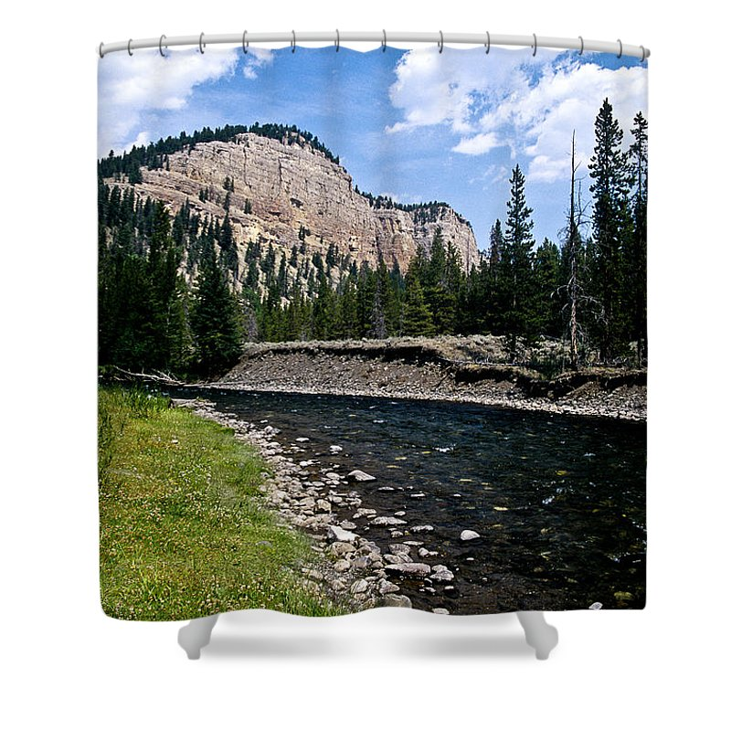 Landscape Shower Curtain featuring the photograph Upriver In Washake Wilderness by Kathy McClure