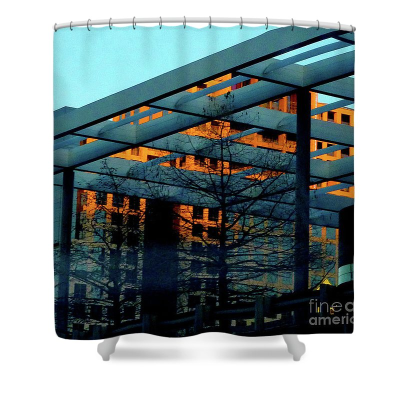 Orange Shower Curtain featuring the photograph Urban Blue by Angela Wright