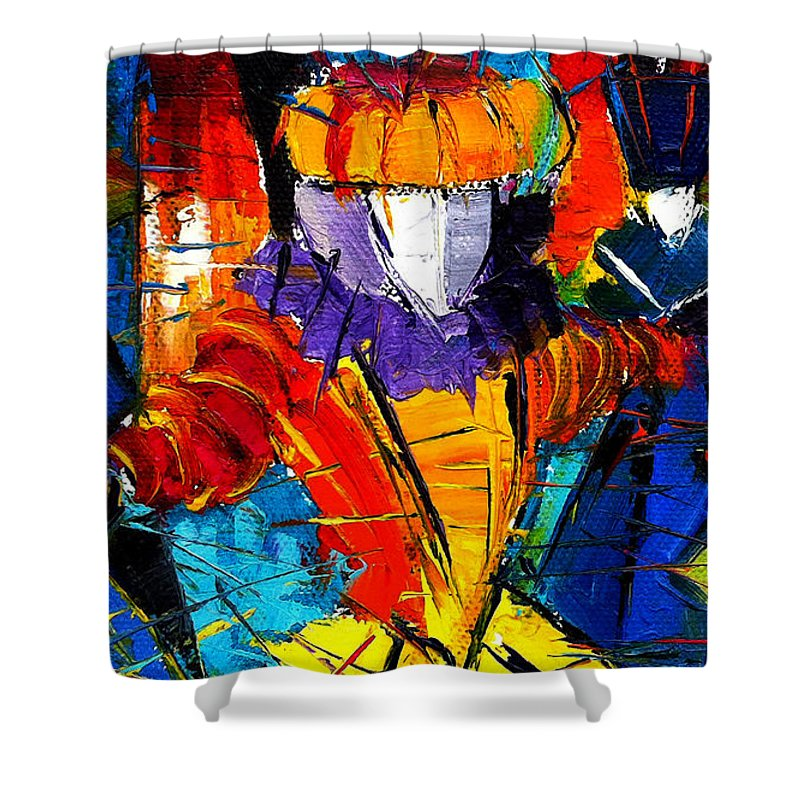 The Carnival Shower Curtain featuring the painting Urban Story The Venice Carnival 2 Painting Detail by Mona Edulesco