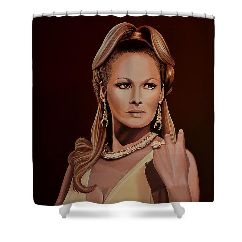 Ursula Andress Shower Curtain featuring the painting Ursula Andress by Paul Meijering