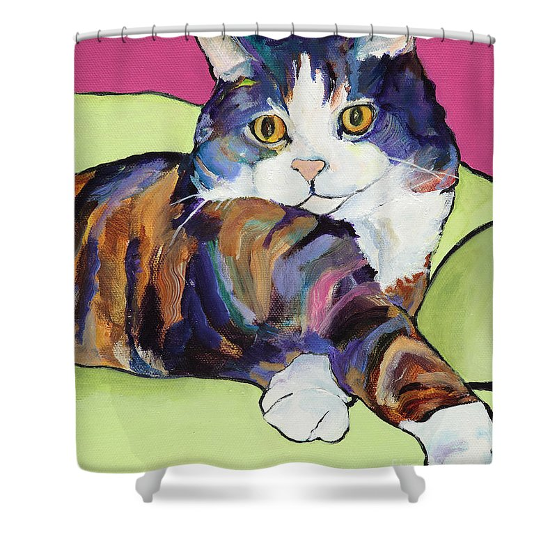 Pat Saunders-white Canvas Prints Shower Curtain featuring the painting Ursula by Pat Saunders-White