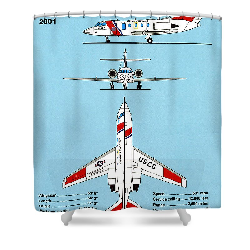 Uscg Shower Curtain featuring the drawing Coast Guard Dassault-falcon by Jerry McElroy
