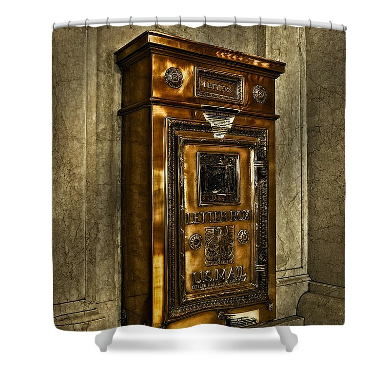 Grand Central Station Shower Curtain featuring the photograph Us Mail Letter Box by Susan Candelario