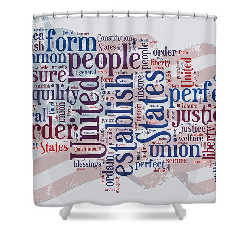 Us Map Preamble Word Cloud Shower Curtain For Sale By Paulette B Wright