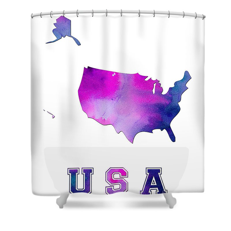 Us Shower Curtain Featuring The Digital Art Map Watercolor By Voros Edit
