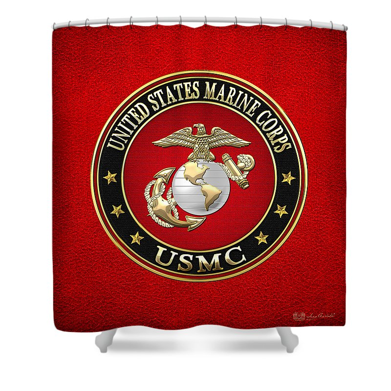 Military Insignia Digital Art Shower Curtains