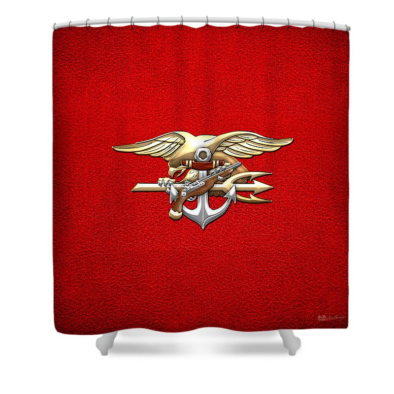 U S Navy E A Ls Emblem On Red Shower Curtain For Sale By Serge Averbukh