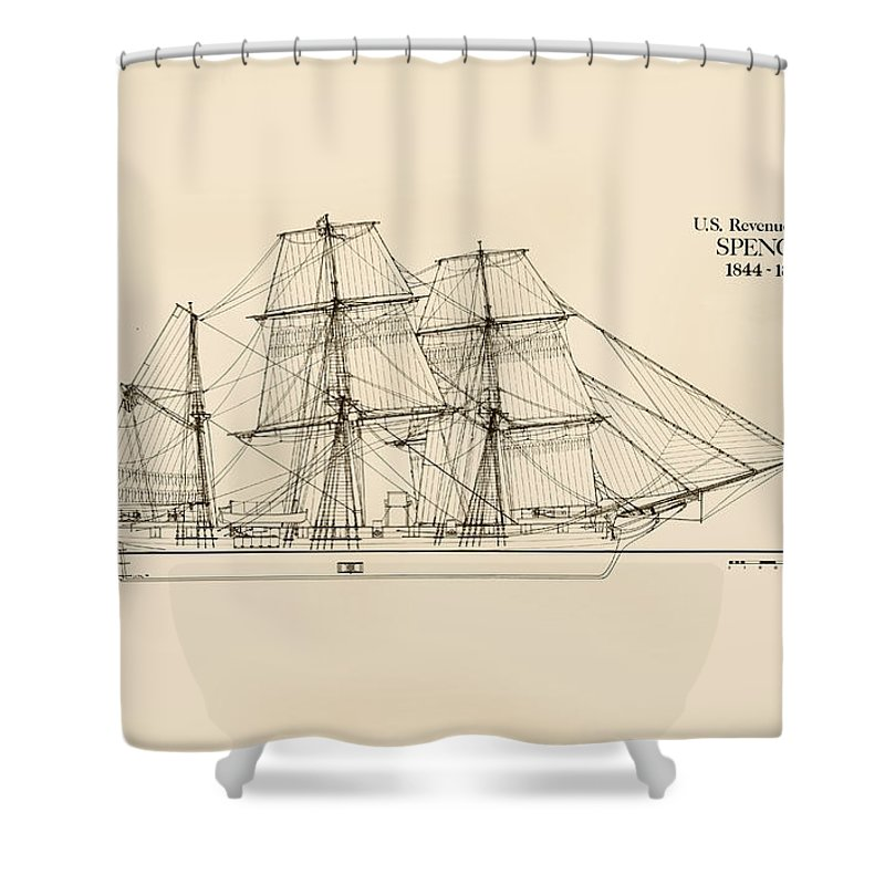 U.s. Revenue Service Shower Curtain featuring the drawing U. S. Revenue Cutter Spencer by Jerry McElroy - Public Domain Image