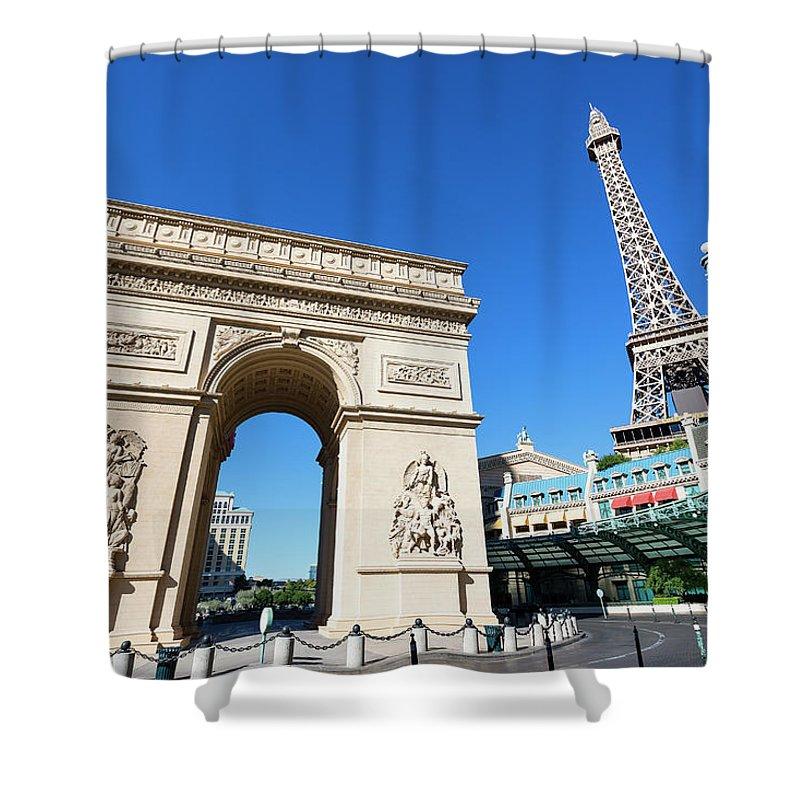 Arch Shower Curtain featuring the photograph Usa, Nevada, Las Vegas, Paris Las Vegas by Sylvain Sonnet