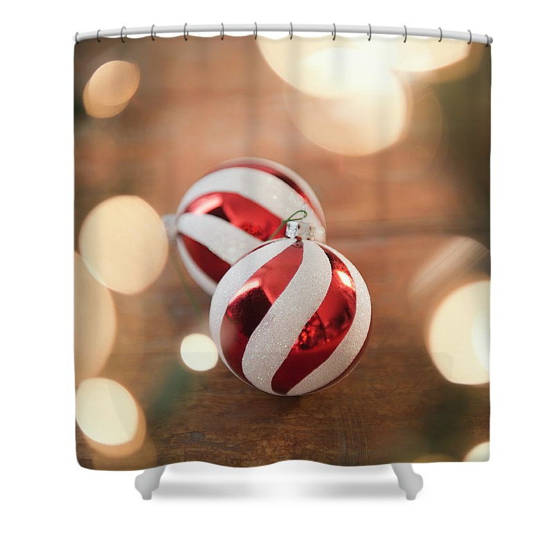 Christmas Ornament Shower Curtain featuring the photograph Usa, New Jersey, Jersey City, Christmas by Jamie Grill