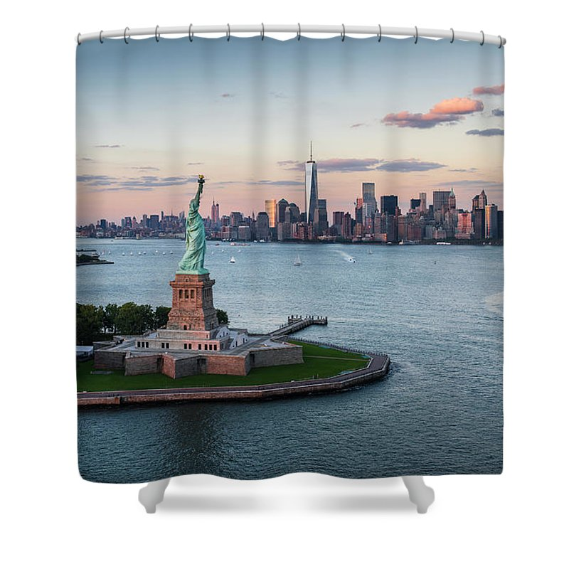 Tourboat Shower Curtain featuring the photograph Usa, New York State, New York City by Tetra Images