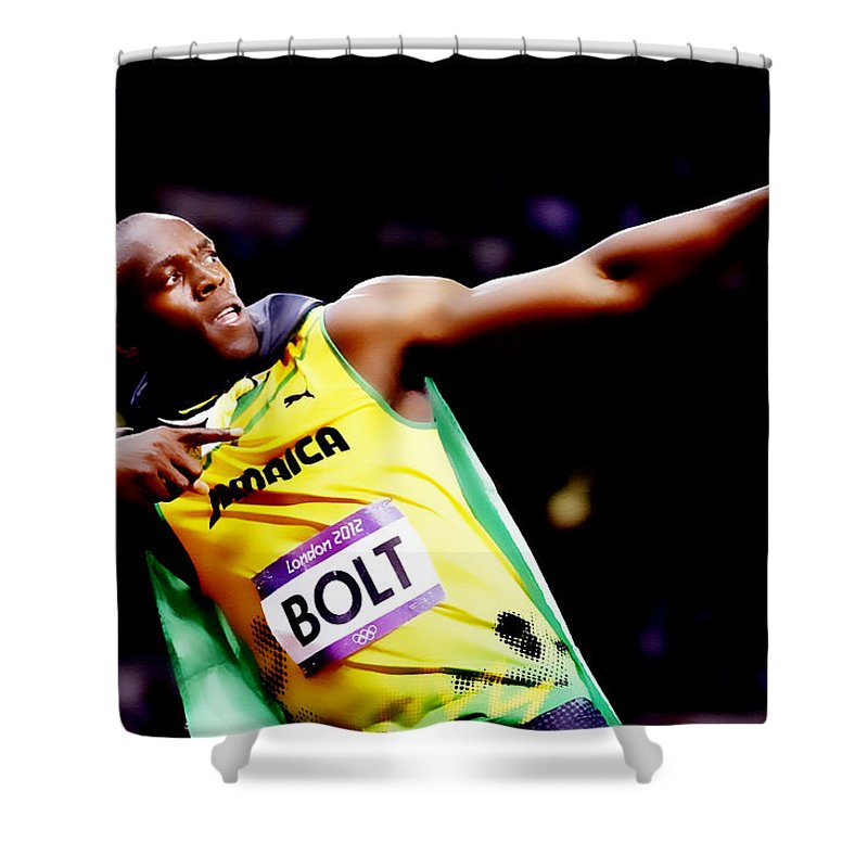 Usain Bolt Shower Curtain featuring the digital art Usain Bolt Sweet Victory II by Brian Reaves