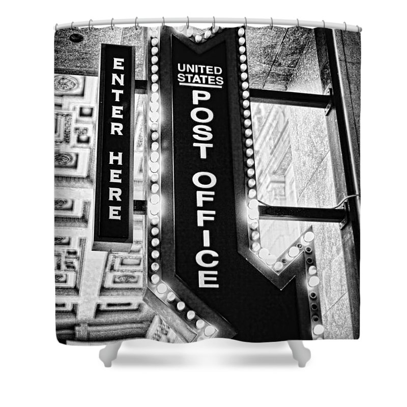 Essense Of Missouri Shower Curtain featuring the photograph Usps Enter Here by Sennie Pierson