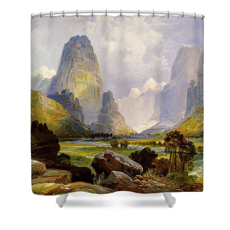 Utah Mountains Shower Curtain featuring the digital art Utah Mountains by Unknown