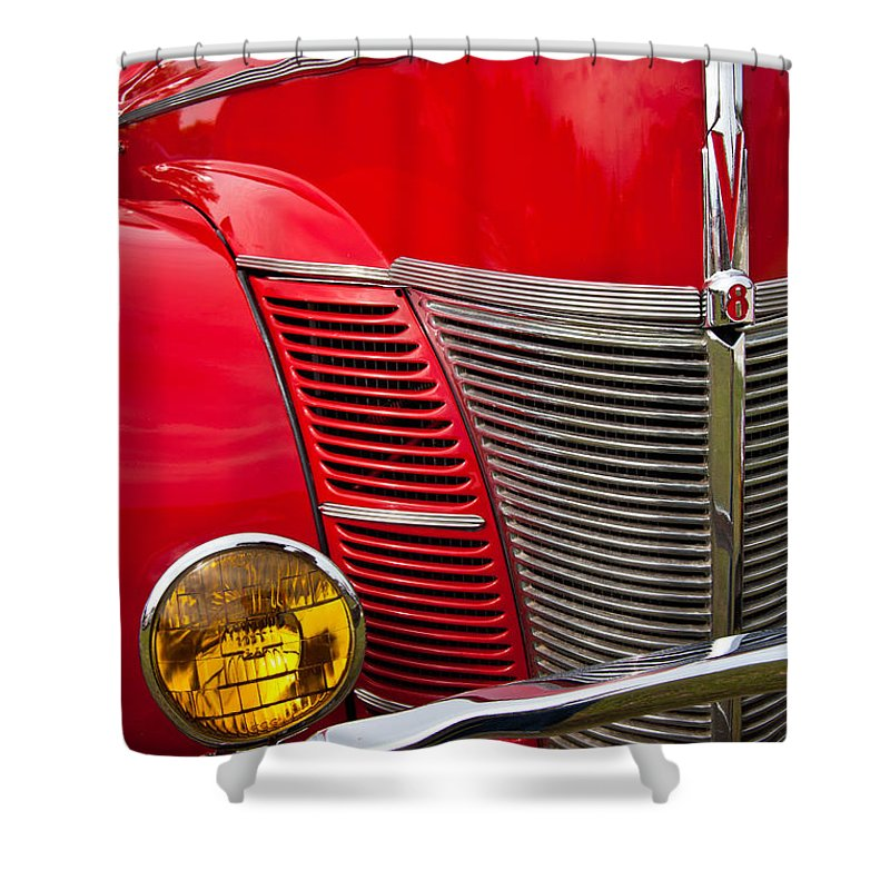 Classic Car Shower Curtain featuring the photograph V8 - Another View by Mark Alder