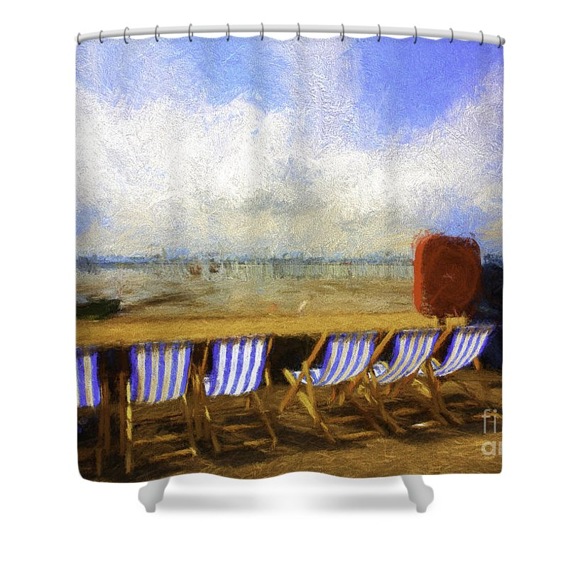 Clouds Shower Curtain featuring the photograph Vacant deckchairs by Sheila Smart Fine Art Photography