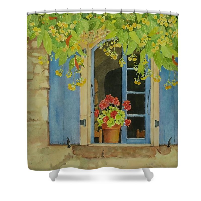 France Shower Curtain featuring the painting Vacation Memory by Mary Ellen Mueller Legault