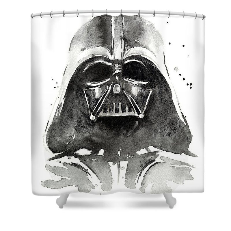 Watercolor Shower Curtain featuring the painting Darth Vader Watercolor by Olga Shvartsur