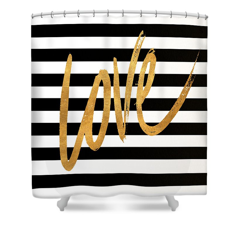 Valentines Shower Curtain featuring the digital art Valentines Stripes Iv by South Social Graphics