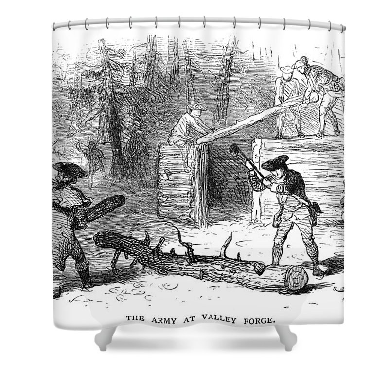 1777 Shower Curtain featuring the photograph Valley Forge: Huts, 1777 by Granger