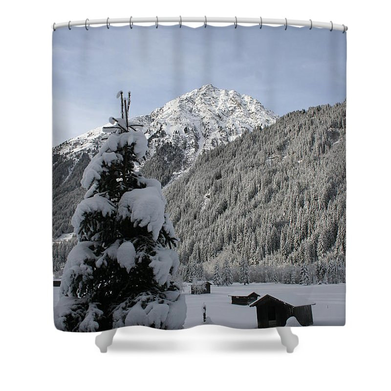 Snow Shower Curtain featuring the photograph Valley In The Snow by Christiane Schulze Art And Photography