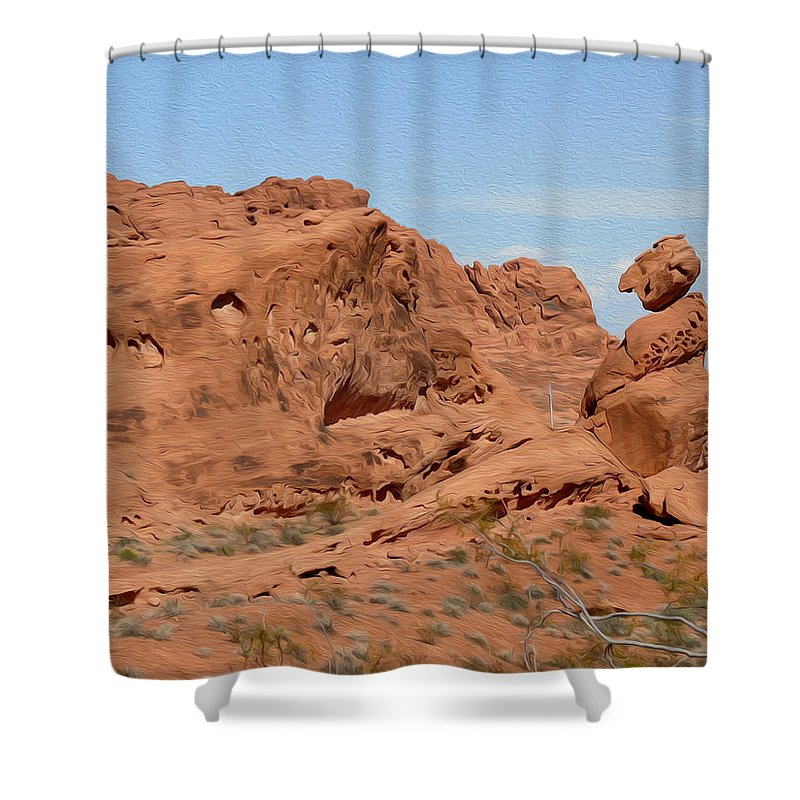 Valley Of Fire State Park Shower Curtain featuring the photograph Valley Of Fire Rock Formations by Tracy Winter