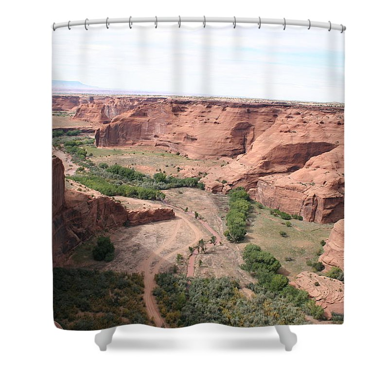 Valley Shower Curtain featuring the photograph Canyon de Chelly Valley View  by Christiane Schulze Art And Photography