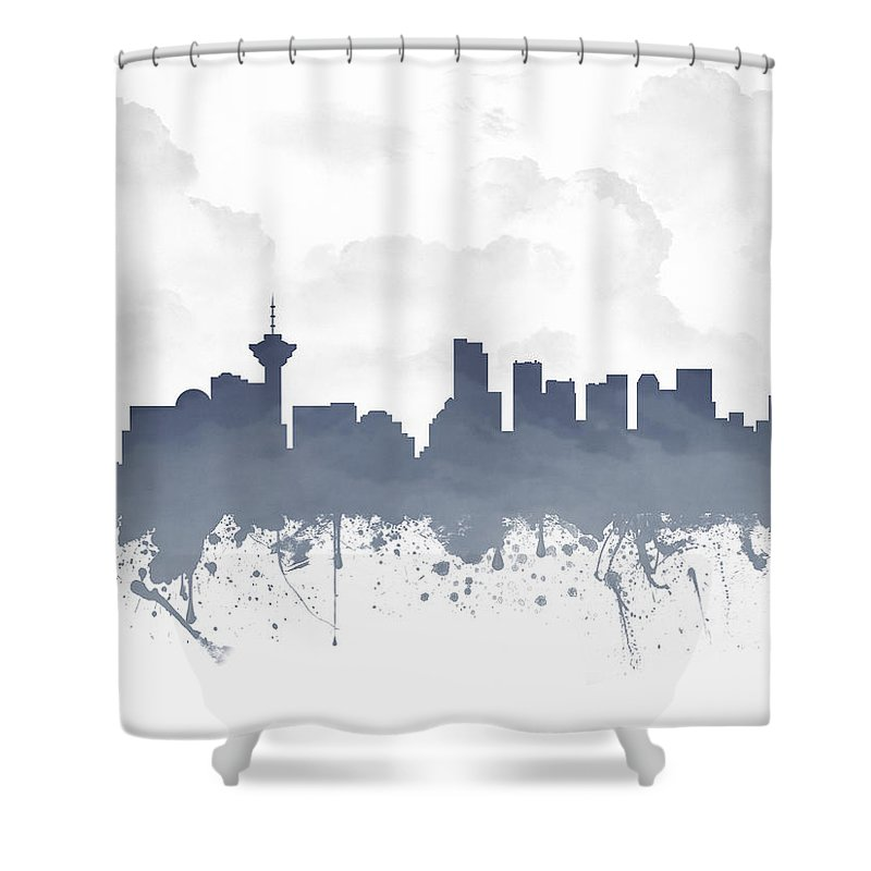 Vancouver Shower Curtain featuring the digital art Vancouver British Columbia Skyline - Blue 03 by Aged Pixel
