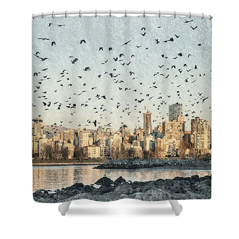 Kitsilano Beach Vancouver Shower Curtain featuring the photograph Vancouver Skyline With Crows by Peter v Quenter