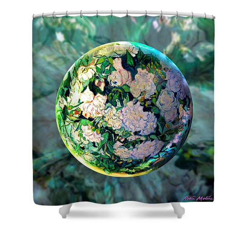 Van Gogh Shower Curtain featuring the painting Vangloghing Roses by Robin Moline
