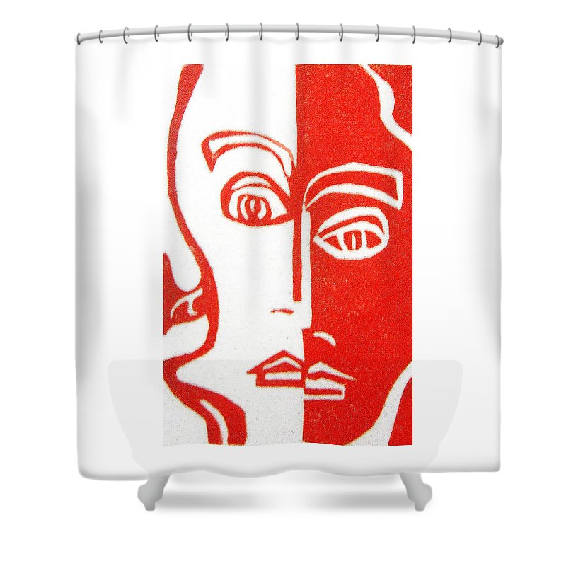 Red Shower Curtain featuring the drawing Vanity by Donna Tucker