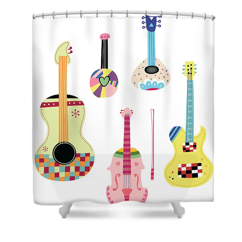 White Background Shower Curtain featuring the digital art Various Kinds Of Stringed Instruments by Eastnine Inc.