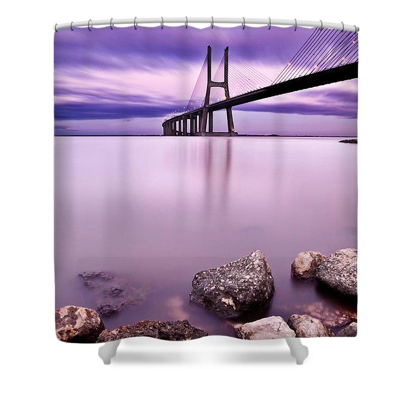 Lisbon Shower Curtain featuring the photograph Vasco Da Gama Bridge by Jorge Maia