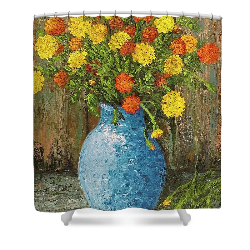 Impressionistic Shower Curtain featuring the painting Vase Of Marigolds by Darice Machel McGuire
